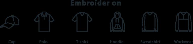 Embroidery on T-shirt Hoodie Sweatshirt Polo caps hats workware
